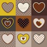 De bruine, kaki en gele leuke reeks van het hartenpatroon Royalty-vrije Stock Afbeelding