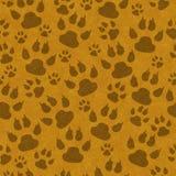 De bruine kattenpoot drukt naadloze patroonachtergrond stock illustratie