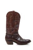 De bruine laarzen van de leercowboy op wit stock afbeelding