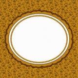 De bruine ovale grens van het kattenpatroon met exemplaarruimte stock illustratie