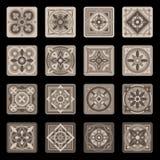 De bruine Portugese Ceramische Bloemenreeks van de Mozaïektegel Vector Royalty-vrije Stock Fotografie
