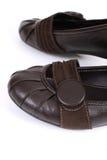 De bruine schoenen van vrouwen royalty-vrije stock fotografie