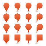 De bruine van de het teken vlakke plaats van de kaartspeld knoop van het het pictogramweb Royalty-vrije Stock Afbeeldingen