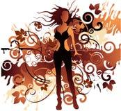 De bruine vrouw van het grungeblad   Vector Illustratie