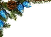 De brunch van de spar met Kerstmisdecoratie Stock Afbeelding