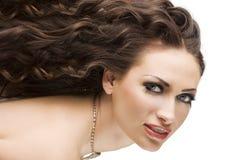 De brunette van het portret met kapsel Stock Fotografie