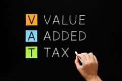 De BTW - Belasting op de toegevoegde waarde op Bord stock foto's