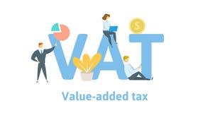 De BTW, Belasting op de toegevoegde waarde Concept met sleutelwoorden, brieven, en pictogrammen Vlakke vectorillustratie Geïsolee vector illustratie
