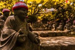 De Buddahsteen beeldhouwt de weg wordt bewaakt door dit stock fotografie