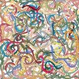 De buigende stekelige sguiggly manueel geproduceerde strepen die, in pastelkleur overlappen kleurden, overvol beeld Stock Afbeeldingen