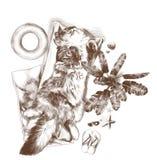 De buik van de kattenslaap omhoog onder palm op matras en omringde handdoek vector illustratie