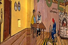 De buiten Landbouwmuurschildering van de Museummuur Stock Afbeeldingen