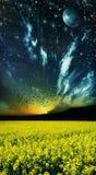De buitengewone kleurrijke scène van het de lentelandschap Stock Afbeelding