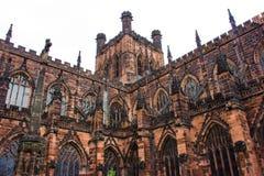 De Buitenkant van Chester Cathedral stock fotografie