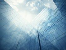 De buitenkant van de wolkenkrabber met blauwe glasmuren Stock Afbeelding
