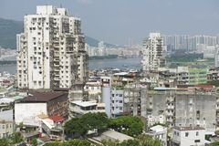 De buitenkant van de woonwijkgebouwen van Macao, Macao, China Stock Foto's