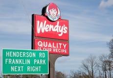 De buitenkant van het het snelle voedselrestaurant van Wendy ` s royalty-vrije stock fotografie