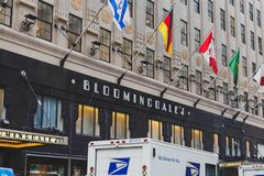 De buitenkant van het warenhuis van Bloomingdale ` s in Manhattan,  Royalty-vrije Stock Foto