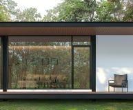 De buitenkant van modern huisterras in de 3d tuin geeft terug royalty-vrije illustratie