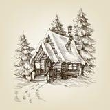De buitenkant van de de wintercabine vector illustratie