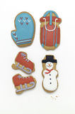 De buitensporige koekjes van de Kerstmisvakantie op wit Royalty-vrije Stock Afbeelding