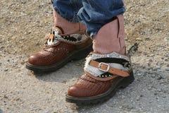 De buitensporige Laarzen van de Veedrijfster stock foto