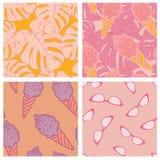 De buitensporige vrouwelijke ontwerpset van het de zomer textiel naadloze patroon royalty-vrije illustratie