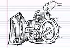 De Bulldozer van de schetskrabbel vector illustratie