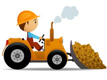 De bulldozer van het beeldverhaal op het bouwwerk royalty-vrije illustratie