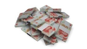 De bundels van het yuansgeld op wit stock videobeelden