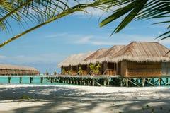 De bungalow van de Maldiven met palm als voorgrondelement stock foto