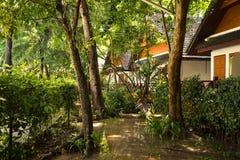 De bungalowwen worden gevestigd in de diepten van het eiland onder de wildernissen van Thailand Koh He royalty-vrije stock afbeelding