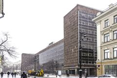De bureaubouw in het centrum van Moskou, door de architect Le Corbusier wordt ontworpen dat stock foto's