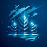 De bureaubouw, moderne architectuur vectorillustratie met vage lichten en glanseffect Commercieel van de onroerende goederenmakel royalty-vrije illustratie