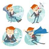 De bureaumens hipster plaatste: vliegende super mens die blauwe mackintosh dragen Royalty-vrije Stock Fotografie