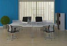 De bureaus van het systeem met binnen verdelingen in het blauw Royalty-vrije Stock Afbeelding