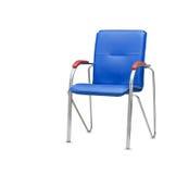 De bureaustoel van blauw leer Geïsoleerde Stock Foto's