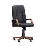 De bureaustoel van zwart leer Geïsoleerde Royalty-vrije Stock Foto