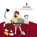 De bureauvrouwen werken hard en hoofdpijnen wegens voltooid niet zoals gepland Stock Afbeeldingen