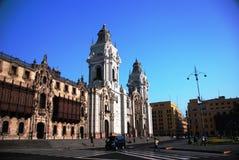 De Burgemeester van het plein in Lima, Peru Stock Afbeeldingen