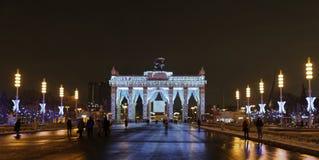 De burgers lopen op de vooravond van het Nieuwjaar bij VDNH Royalty-vrije Stock Foto