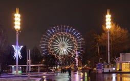 De burgers lopen op de vooravond van het Nieuwjaar bij VDNH Royalty-vrije Stock Fotografie