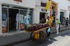 De burgers op de straten van Cartagena Royalty-vrije Stock Afbeeldingen