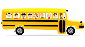 De bus en de kinderen van de school Royalty-vrije Stock Afbeelding