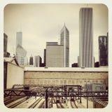 De bus en de trein van Chicago CTA Stock Afbeeldingen