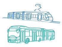 De bus en de tram van het stadsvervoer Stock Foto's