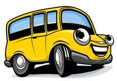 De bus ovre witte achtergrond van het beeldverhaal Stock Afbeelding