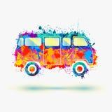 De bus van de hippiekampeerauto Stock Afbeelding