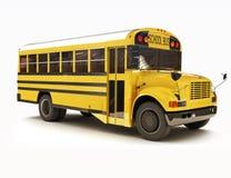 De bus van de school met witte bovenkant Stock Foto's