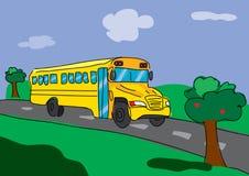 De bus van de school op de weg stock illustratie